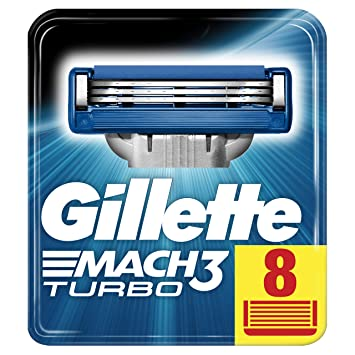 Gillette Mach3 Turbo Cuchillas de afeitar para hombres, 1er Pack (1 x 8 unidades): Amazon.es: Salud y cuidado personal