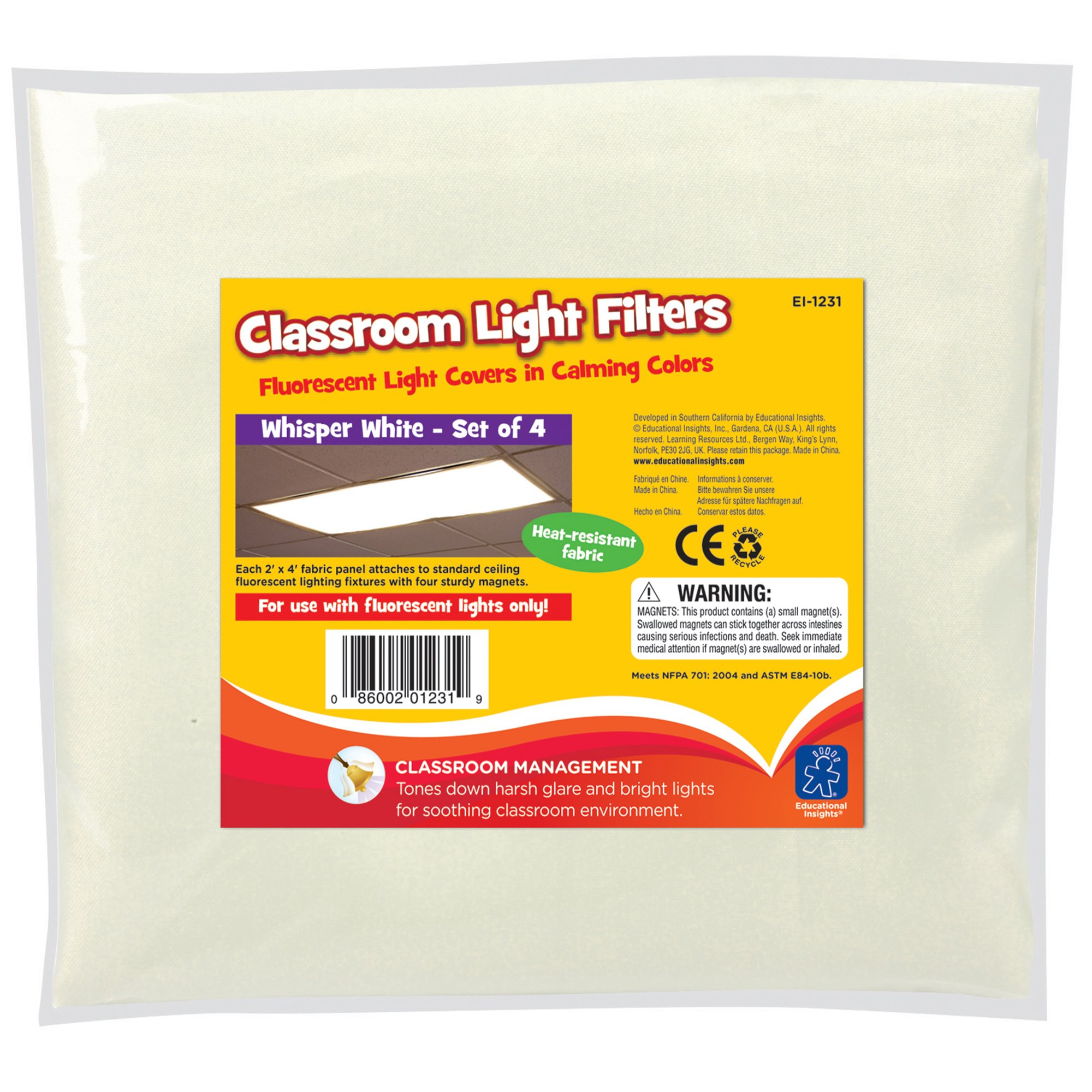 Educational Insights Fluorescent Light Filters (Whisper White), Set of 4