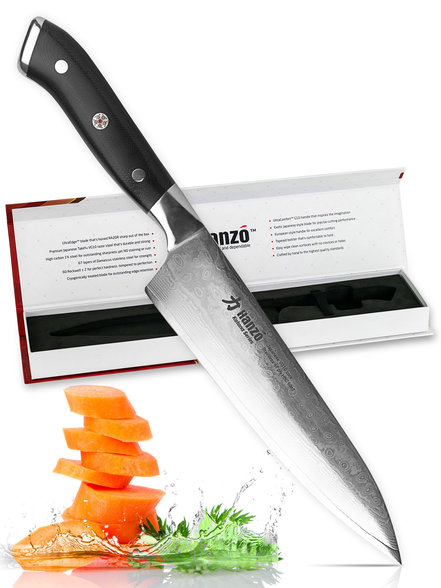 Hanzo Chef Knife Professional Knives - 8 inch Katana Series - Full Length VG-10 Japanese Steel Tang - G10 Military Grade Custom Contoured Handle - Superior Edge Retention and Handling