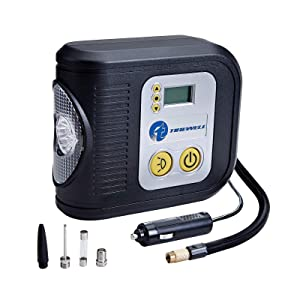 TIREWELL 12V Tire Inflator, Digital Portable Air Compressor, Auto Shut Off Tire Pump with LED Light and 3 Nozzles