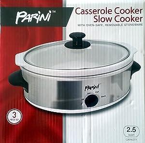 PARINI CASSEROLE COOKER SLOW COOKER 2.5 QUART
