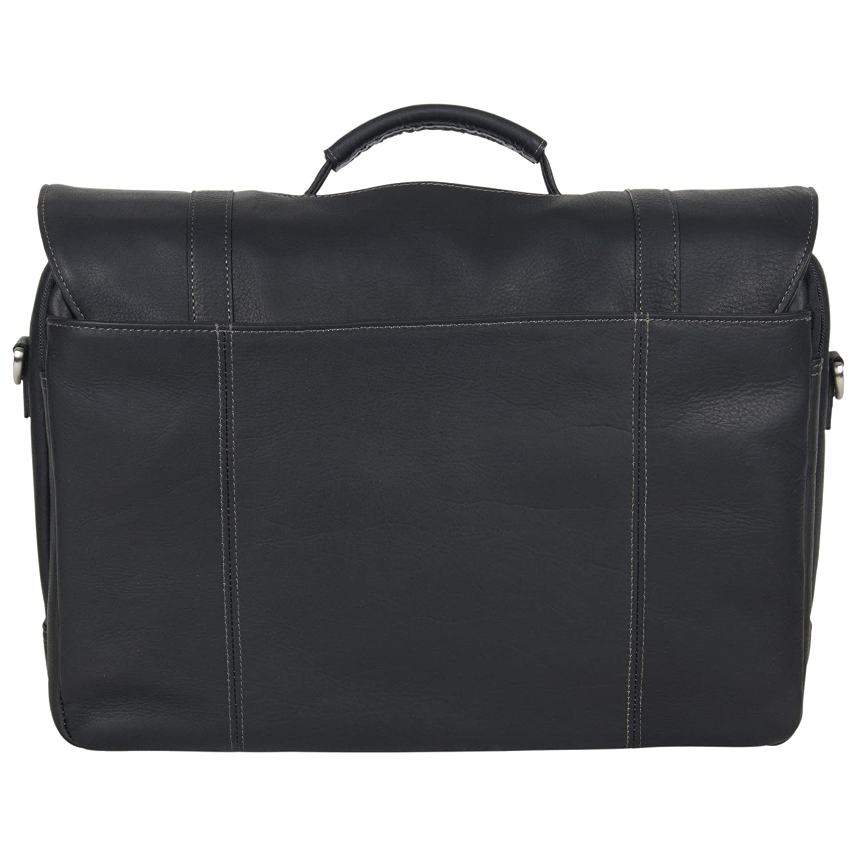 dcbb58192 Amazon.com: Kenneth Cole Reaction Show Full-Grain Colombian Leather Dual  Compartment Flapover 15.6-inch Laptop Business Portfolio, Black: Kenneth  Cole ...