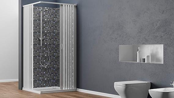 Mampara de ducha esquinera blanca de PVC, altura 185 cm, reducible ...
