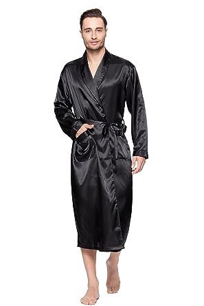 bdf2f23ae6 Lavenderi Mens Silky Satin Lounge Robe