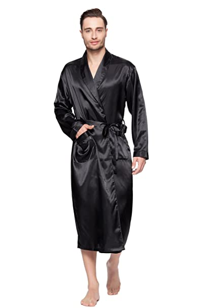 Faybox Men Satin Robe Long Bathrobe Lightweight Sleepwear Navy Xxl Carefully Selected Materials Clothing, Shoes & Accessories