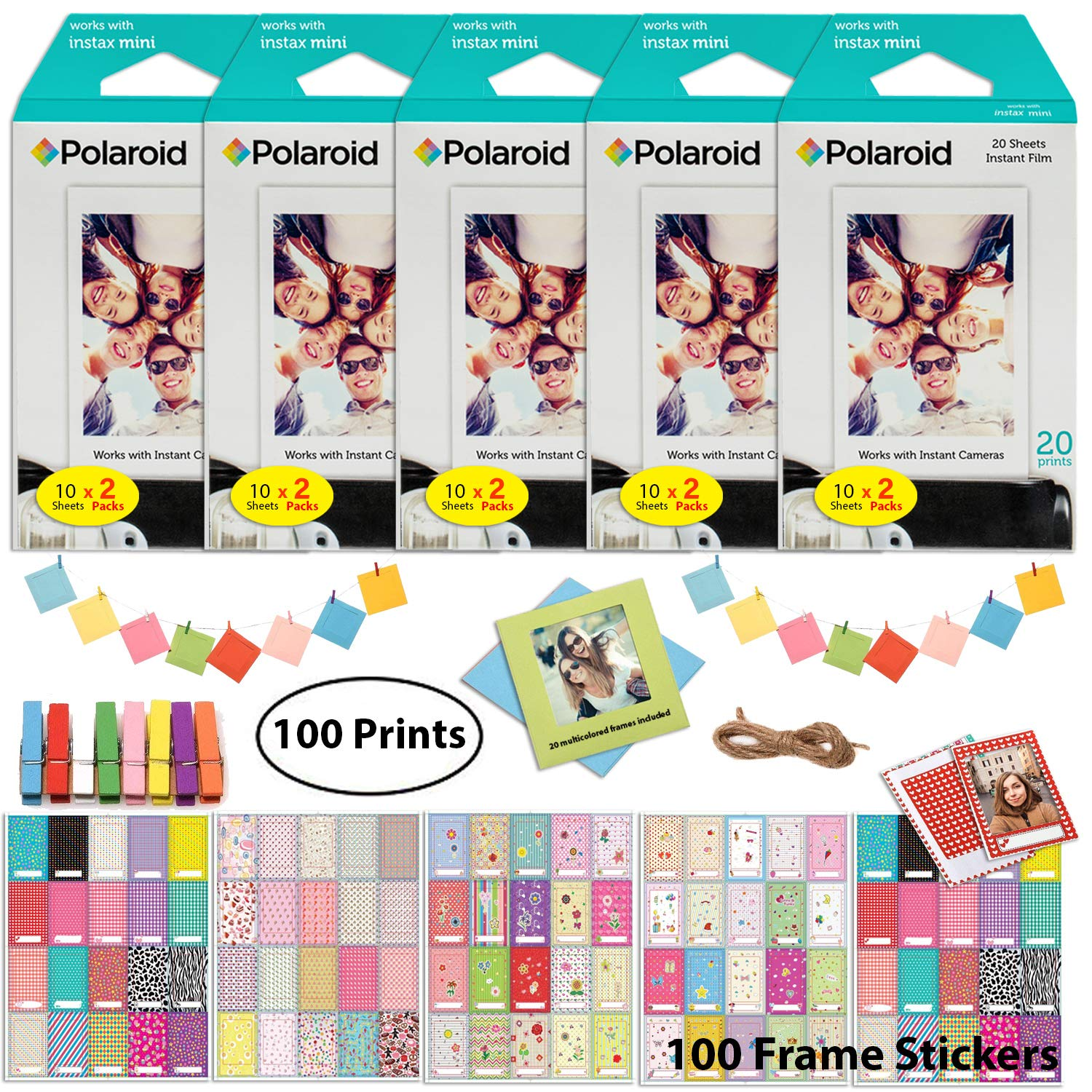 Polaroid Instant Film (100 Sheets) and Picture Frame Accessory Bundle - Designed for use with Fujifilm Instax Mini and PIC 300 Cameras by Polaroid