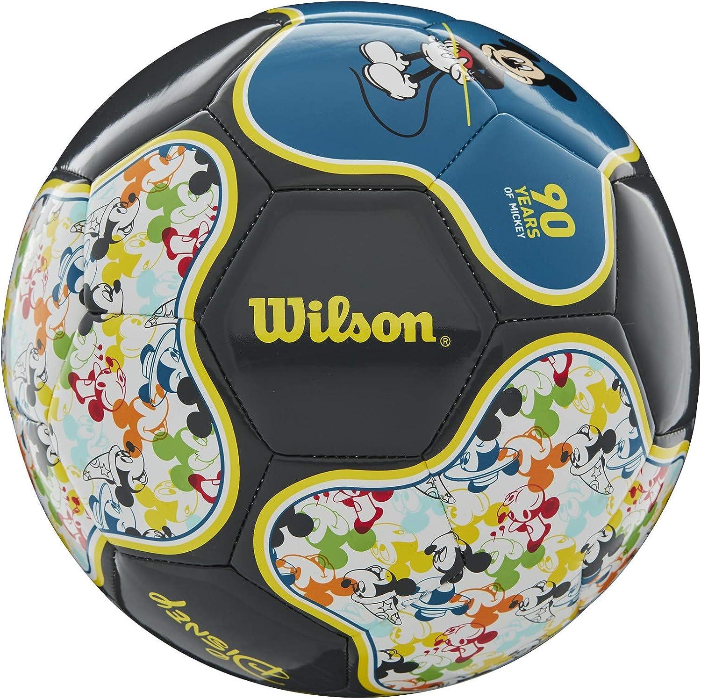 Wilson x Disney - Pelotas de fútbol de Mickey y Minnie Mouse, tamaño 3 - WTE0532IDMIC2, Balón de fútbol de Mickey Mouse: 90 aniversario, tamaño 3, Size 3 Soccer Ball, Multicolor: Amazon.es: Deportes y aire libre