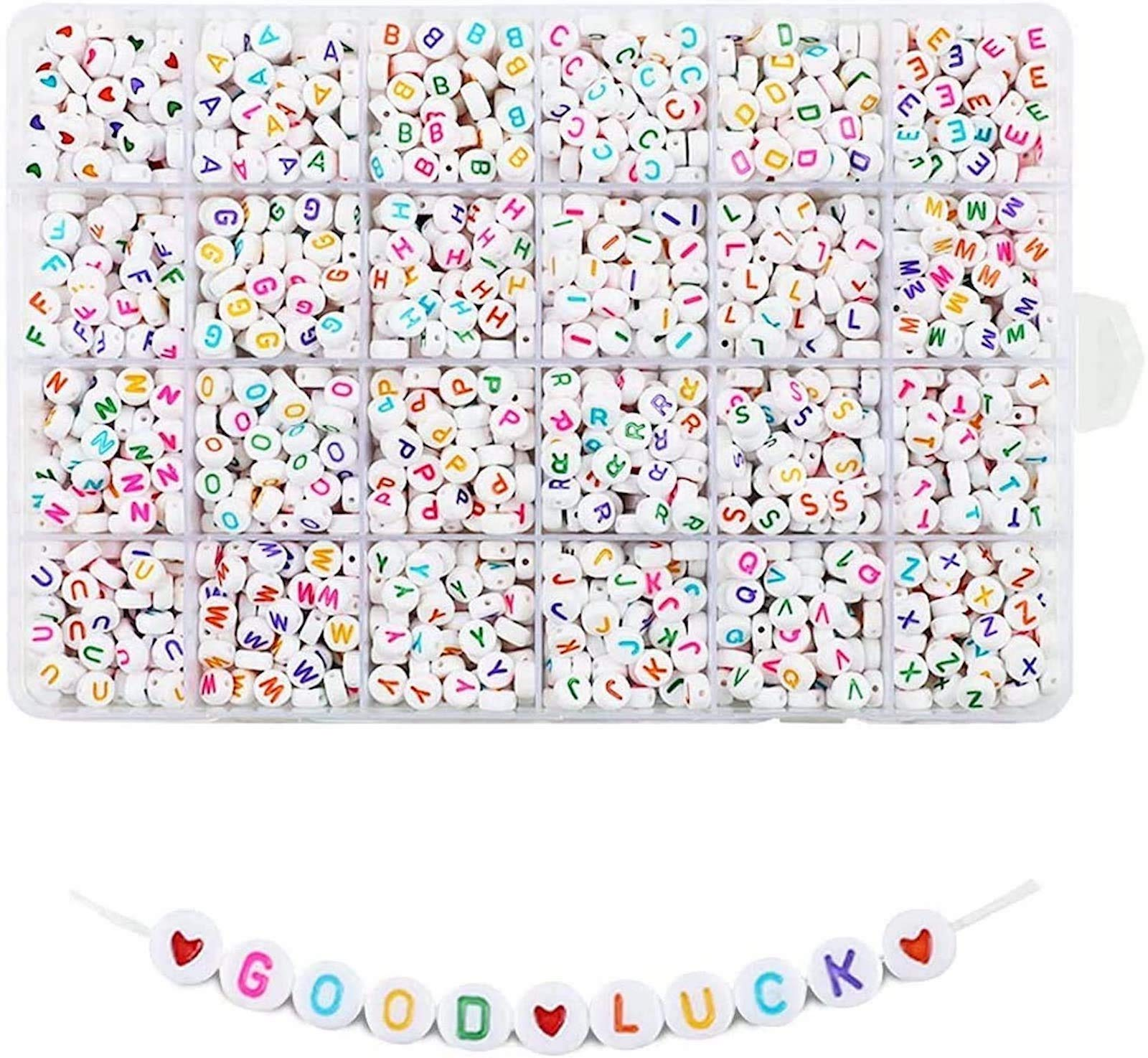 Quefe 1680pcs 4 x 7mm Letter Beads White Round Acrylic Alphabet Beads for Jewelry Making Bracelets Necklaces Key Chains, Each Letter Included