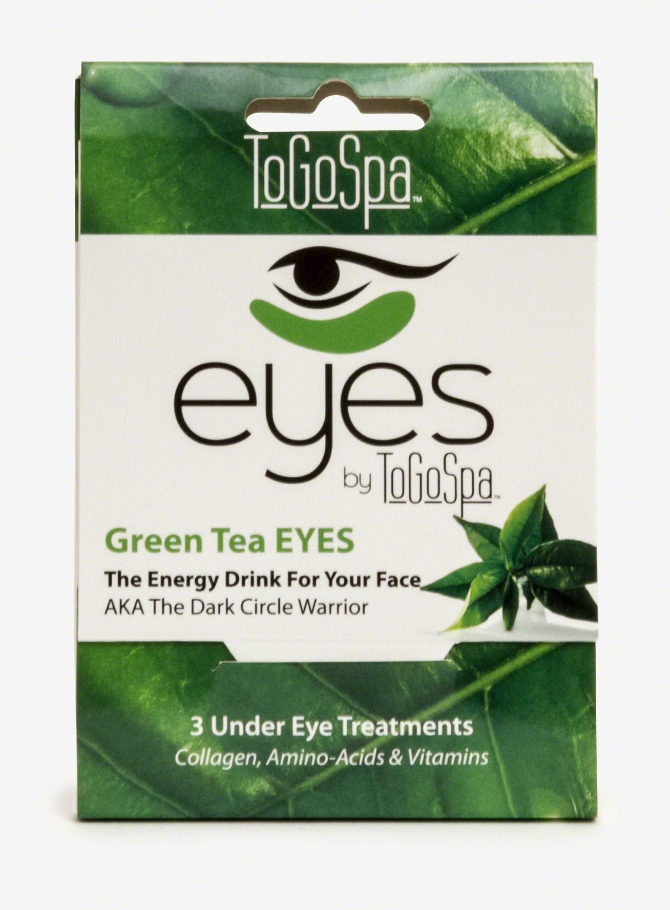 Green Tea EYES by ToGoSpa – Premium Anti-Aging Collagen Gel Pads for Puffiness, Dark Circles, and Wrinkles – Under Eye Rejuvenation for Men & Women - 1 Pack - 3 Pair