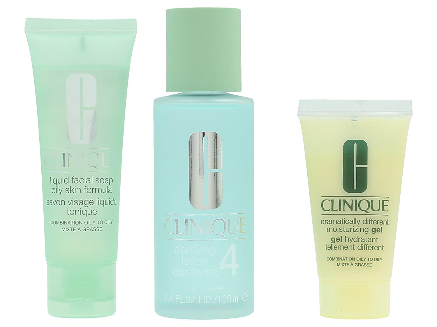 Clinique Unisex Great Skin Set Liquid Facial Soap 50 ml/Clarifying Lotion4 100 ml, Dramatically Different Moisturizing Gel 30 ml 0020714460051 CLI00057