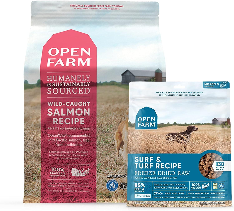 Open Farm Freeze Dried Raw Surf and Turf 3.5 oz & Grain Free Wild-Caught Salmon Dry Dog Food 4.5 lbs, Bundle