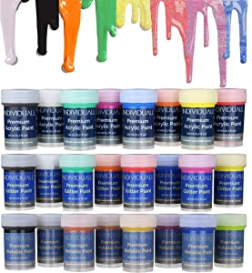 'ALL IN ONE' Metallic, Glitter, Acrylic Paint Set by individuall - All-Purpose Professional Grade Hobby Paints - Vivid Craft Paint Sets for Family and DIY Projects - 24 Cans, 20ml each