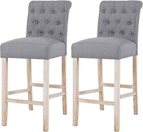 NOBPEINT Fabric Upholstered Barstool Solid Wood Legs Seat Height 29″