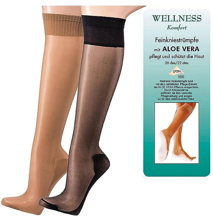 socksPur - Calcetines cortos - 20 DEN - para mujer 1714: WELLNESS ALOE VERA KNIE FEIN STRUMPF perle 5er PACK Talla única: Amazon.es: Ropa y accesorios