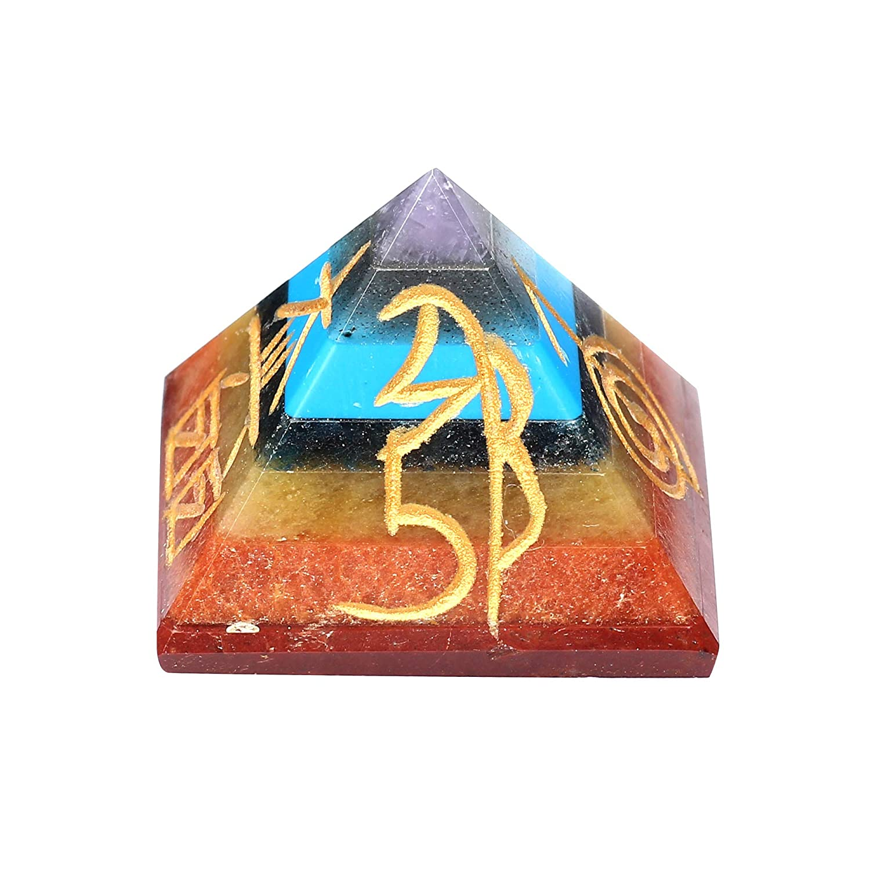 Strati di Rame Metallo Aura Spiritual Elementz Reiki Charged Simboli 7/Chakra Chakra Pyramid con Pietre di Cristallo Trasparente 2,5/cm
