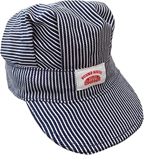 product image for Round House Train Conductor Hickory Striped Engineer Hat - Adult - Made in USA (STRIPE ADLT)