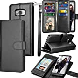 Galaxy S8 Plus Case, S8 Plus Wallet Case, Samsung Galaxy S8+ PU Leather Case, Tekcoo Luxury Cash Credit Card Slots Holder Carrying Folio Flip Cover [Detachable Magnetic Hard Case] & Kickstand - Black