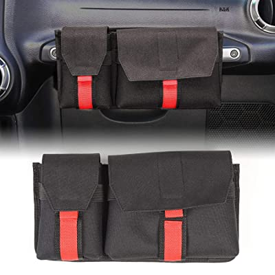 RT-TCZ Passenger Grab Handles Storage Organizer,2 in 1 Pocket Multi-Purpose Storage Bag for Phone,Sunglasses,Tools.Waterproof Interior Accessories for TJ JK JL: Automotive
