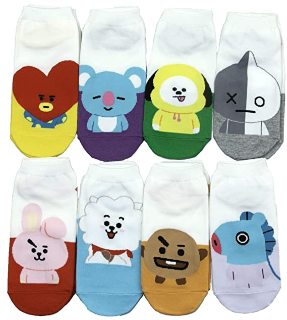 BTS Kpop Character Socks (White-BT21-8) at Amazon Men s Clothing store  ade62ca371db