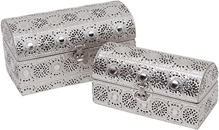 Burkina Home Decor 9015013 Set de Cajas Decorativas, Metal, Plata, 28x15x17 cm: Amazon.es: Hogar