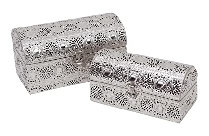 Burkina Home Decor 9015013 Set de Cajas Decorativas, Metal, Plata, 28x15x17 cm