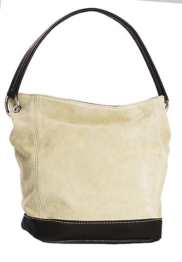 3fedd3bd82ee Big Handbag Shop Single Handle Real Italian Suede Leather Bag with Faux  Trim (Beige)