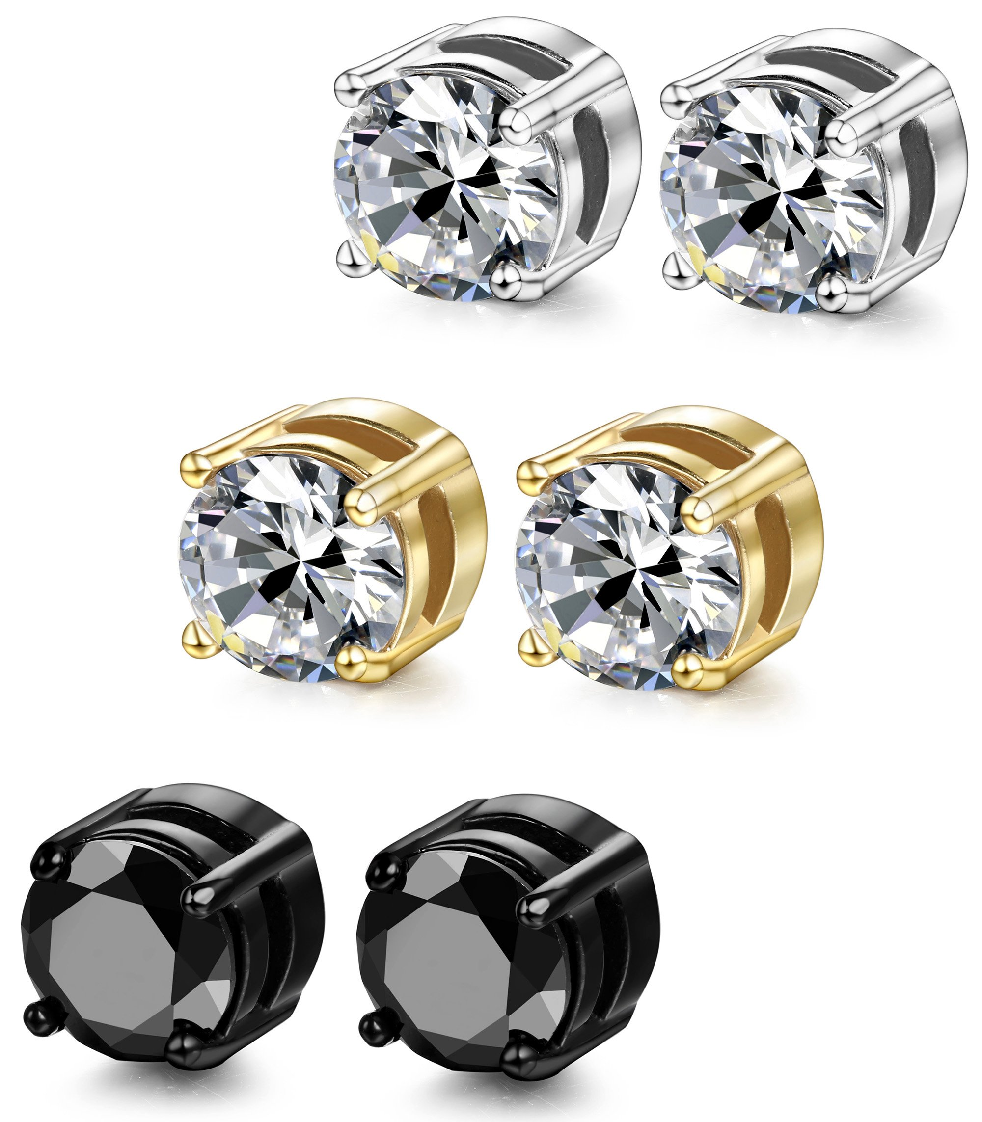 ORAZIO 3 Pairs Stainless Steel Magnetic Stud Earrings for Womens Mens Non Piercing Cubic Zirconia 8mm by ORAZIO (Image #4)