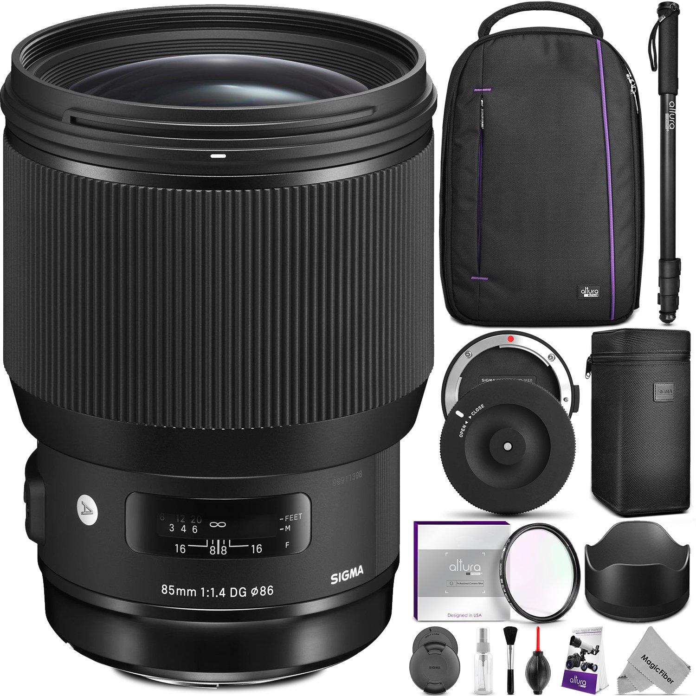 Sigma 85mm f/1.4 DG HSM Art Lens for NIKON F Cameras w/ Advanced Photo and Travel Bundle