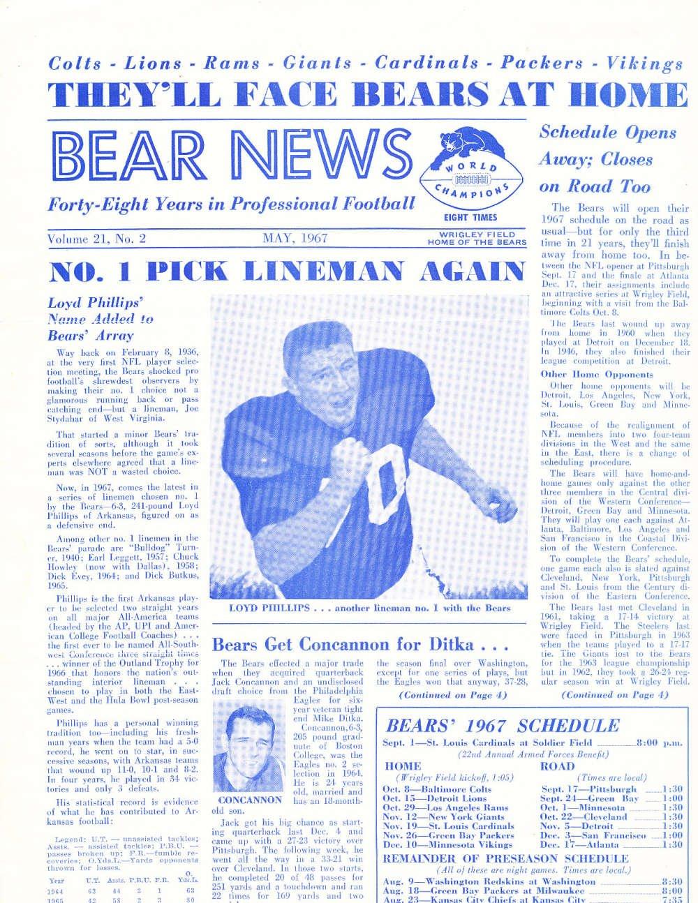Amazon com: May 1967 Chicago Bears News Newsletter Loyd