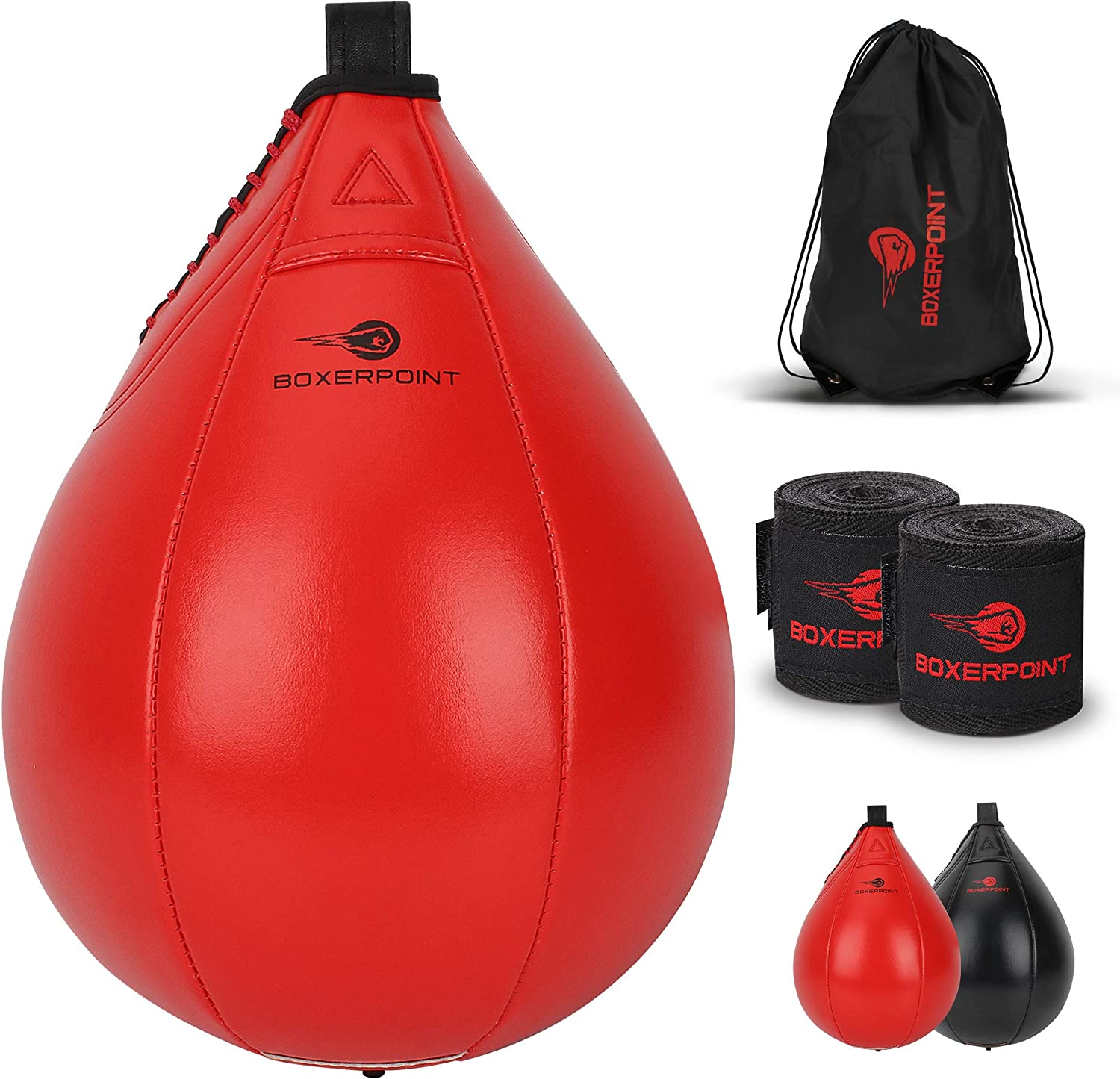 Boxing Speed Bag MMA Training Speedball Reflex Ball PU Leather Speed Bags for Boxing Inflatable Speedbag Boxing Set with Hand Wraps and Carry Bag Heavy Duty Hanging Punching Bag