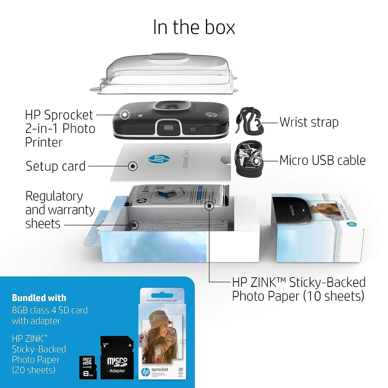 Amazon.com: HP 5MS96A Sprocket 2 en 1 - Impresora de fotos ...