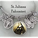 Solid 14K Yellow Gold PicturesOnGold.com Saint Juliana Falconieri Religious Medal 1//2 X 2//3 Inch Size of Dime