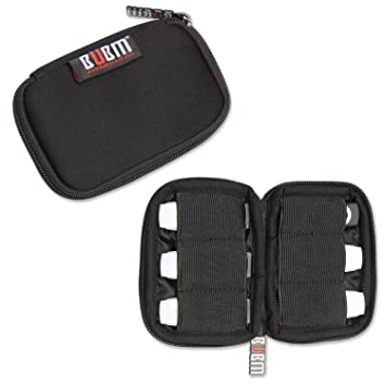BUBM Estuche Mini para Ordenar USB Funda Suave para Proteger USB Perfectamente, Tamaño adecuerdo para llevar 6 Gomas Elásticas para Ajuestar USB, ...