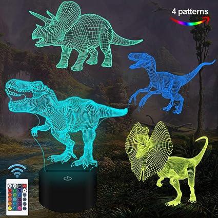 Amazon.com: Juguetes de dinosaurio Fullosun, luz nocturna de ...