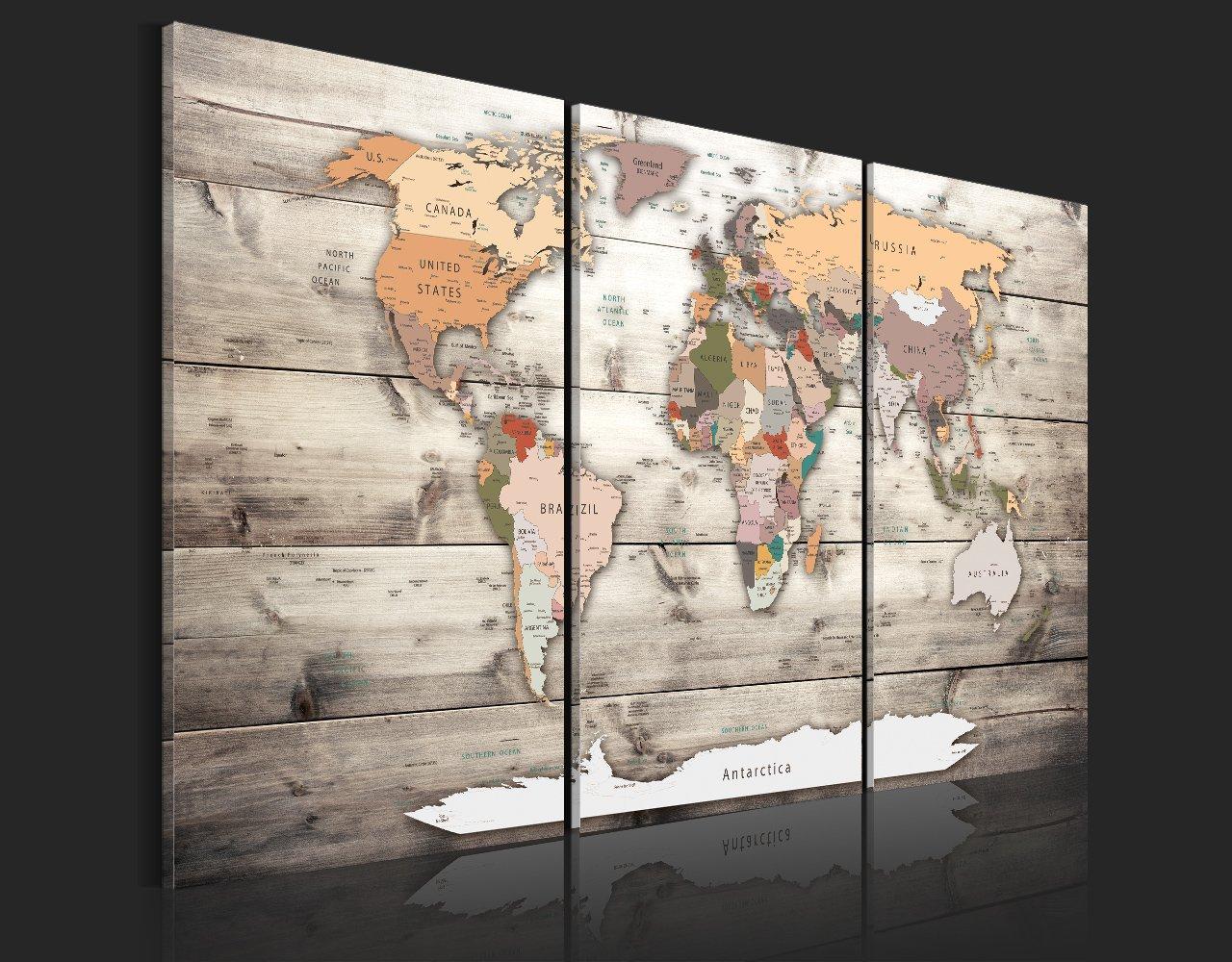 murando Impression sur toile intissee 90x60 cm 3 parties tableau tableaux decoration murale photo image artistique photographie graphique carte du monde continent bois Carte du Monde k-C-0035-b-g