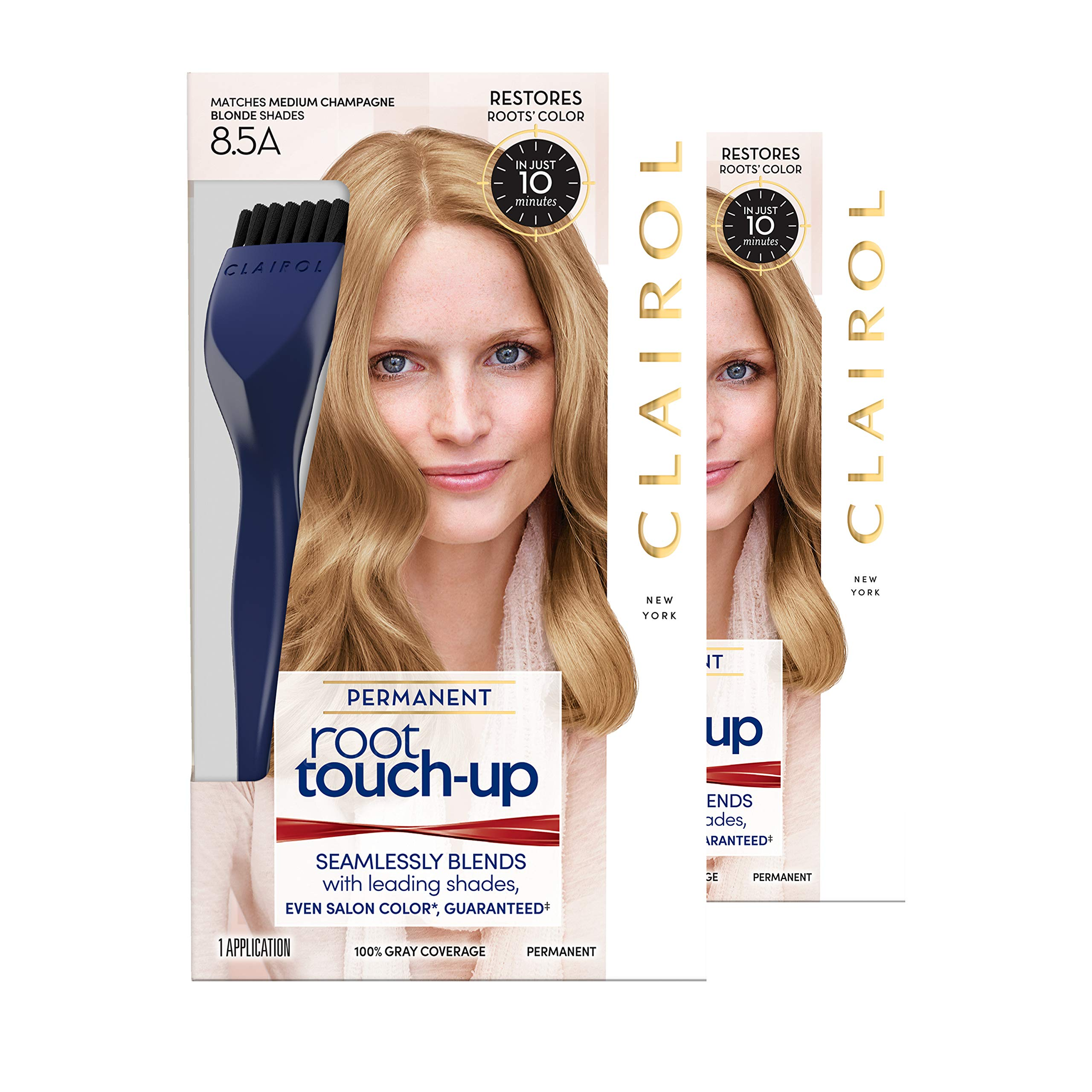 Clairol Nice 'n Easy Root Touch-Up, 8.5A Medium Champagne Blonde, Permanent Hair Color, 2 Kits