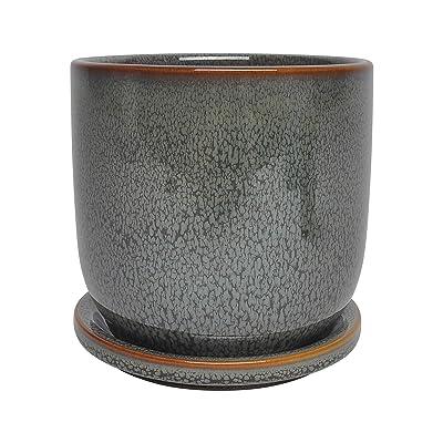 """Sagebrook Home 14770-07 Ceramic 5"""" Planter W/Saucer, Green: Home & Kitchen"""