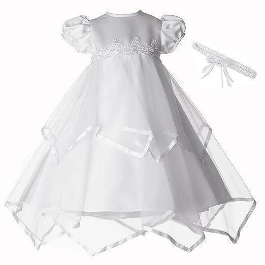 305b8128a3 Amazon.com  Lauren Madison Baby-Girls Newborn Handkerchief Skirt Dress Gown  Outfit  Clothing