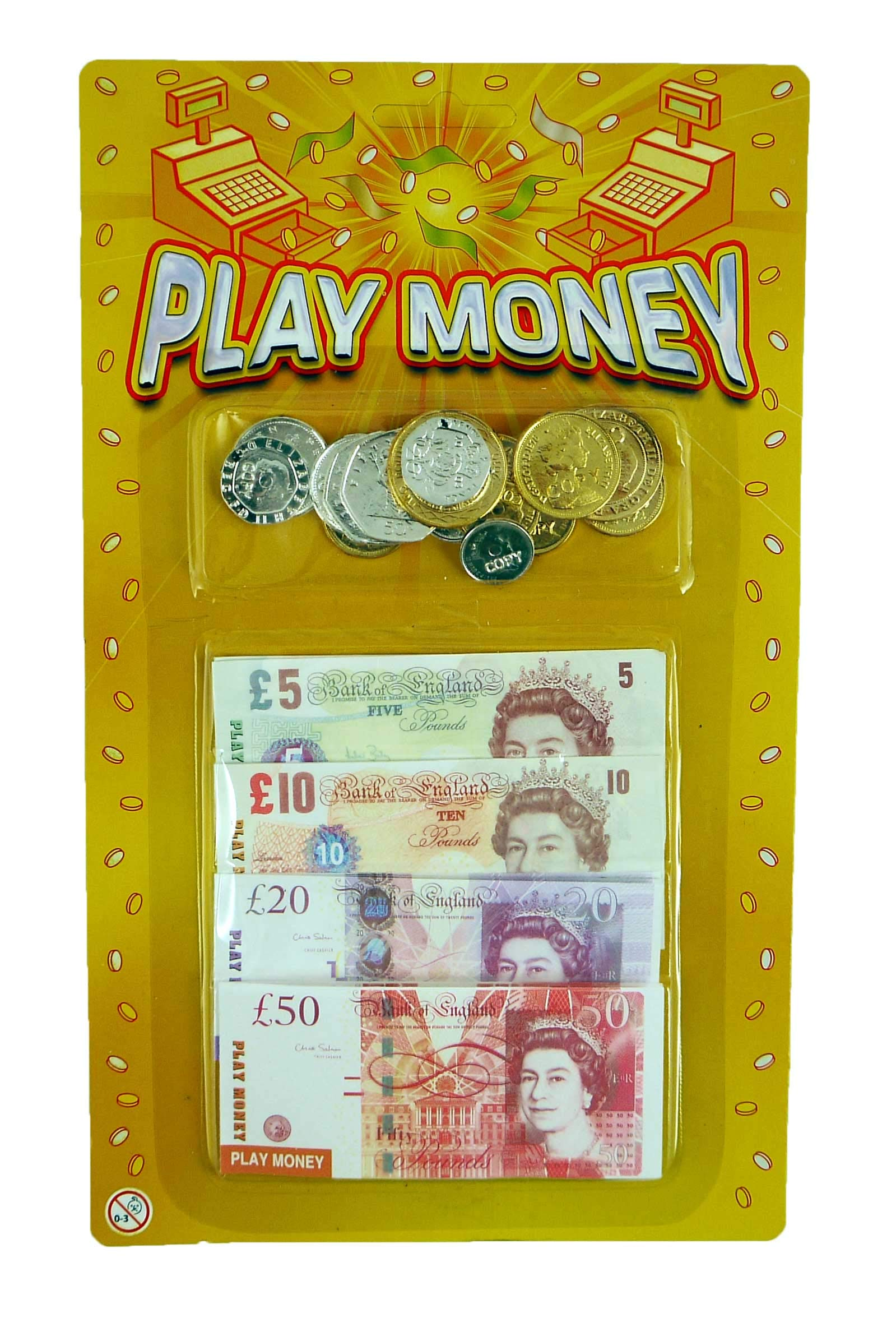 Play Money Sterling Pounds Coins & Notes (T09378)