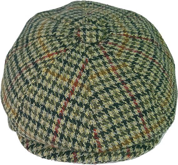 8 pannelli in spina di pesce o tweed modello Newsboy cappello piatto GFM Cappello da Baker Boy