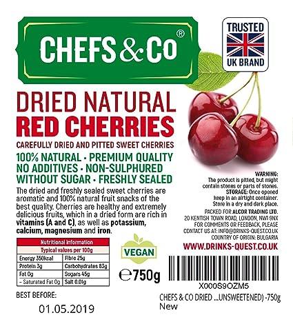 CHEFS & CO CEREZAS ROJAS SECAS (SIN ADICIÓN) -750 g | cerezas dulces cuidadosamente secadas y deshuesadas | 100% natural | calidad superior | sin aditivos, ...
