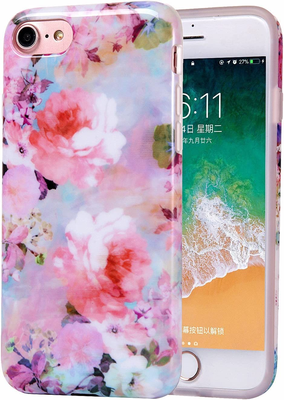 iPhone 6 Case for Girls, iPhone 6s Case, Women Best Protective Cute Slim Pink Glossy Soft Flexible Clear Rubber TPU Silicone Cover Phone Case for iPhone 6 / 6s (Bloom Flower)