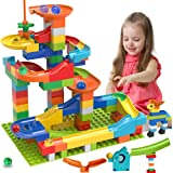 COUOMOXA Marble Run Building Blocks Classic Big Blocks STEM Toy Bricks Set Kids Race Track Compatible with All Major…