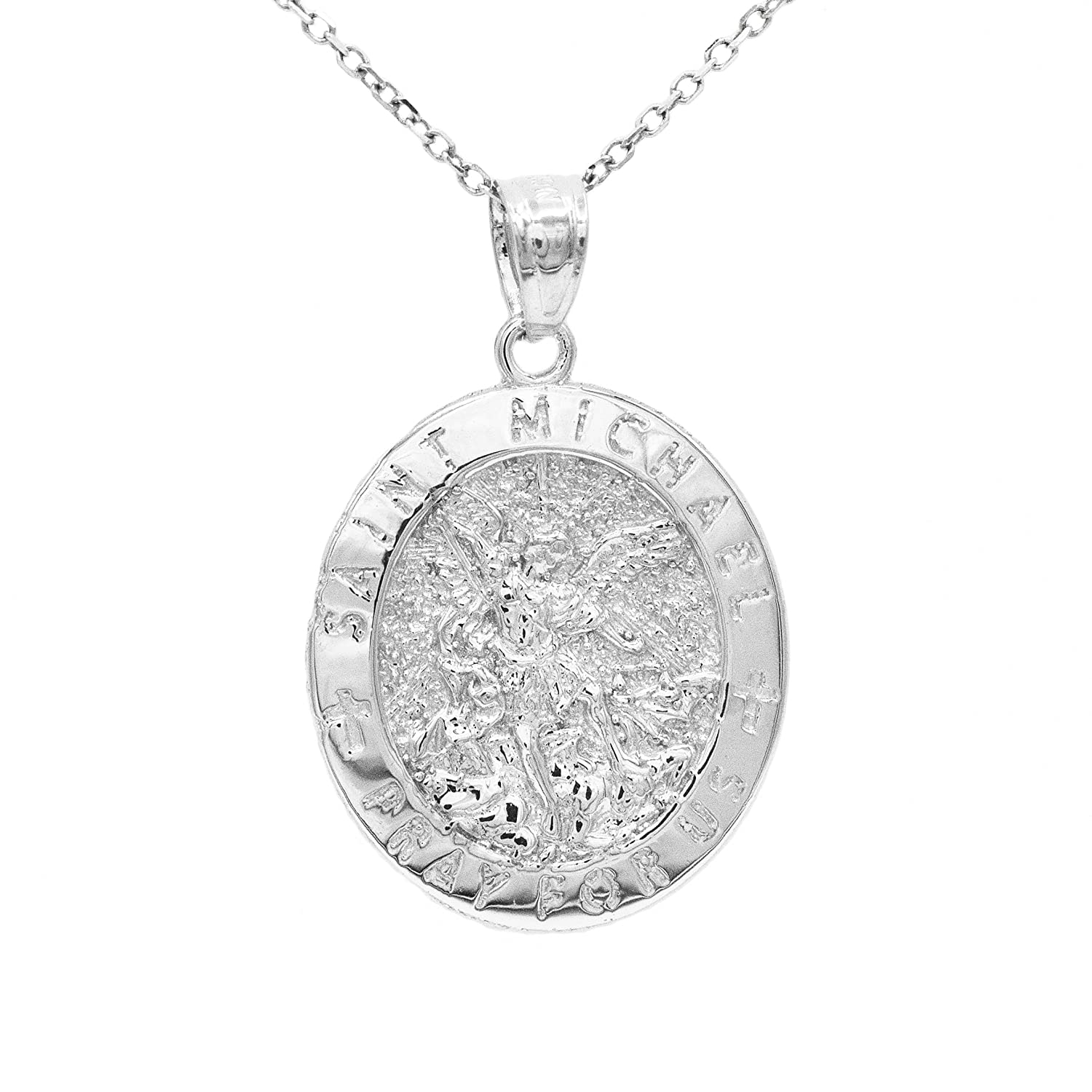 Ice on Fire Jewelry 14k White Gold Saint Michael Pray For Us Pendant Necklace