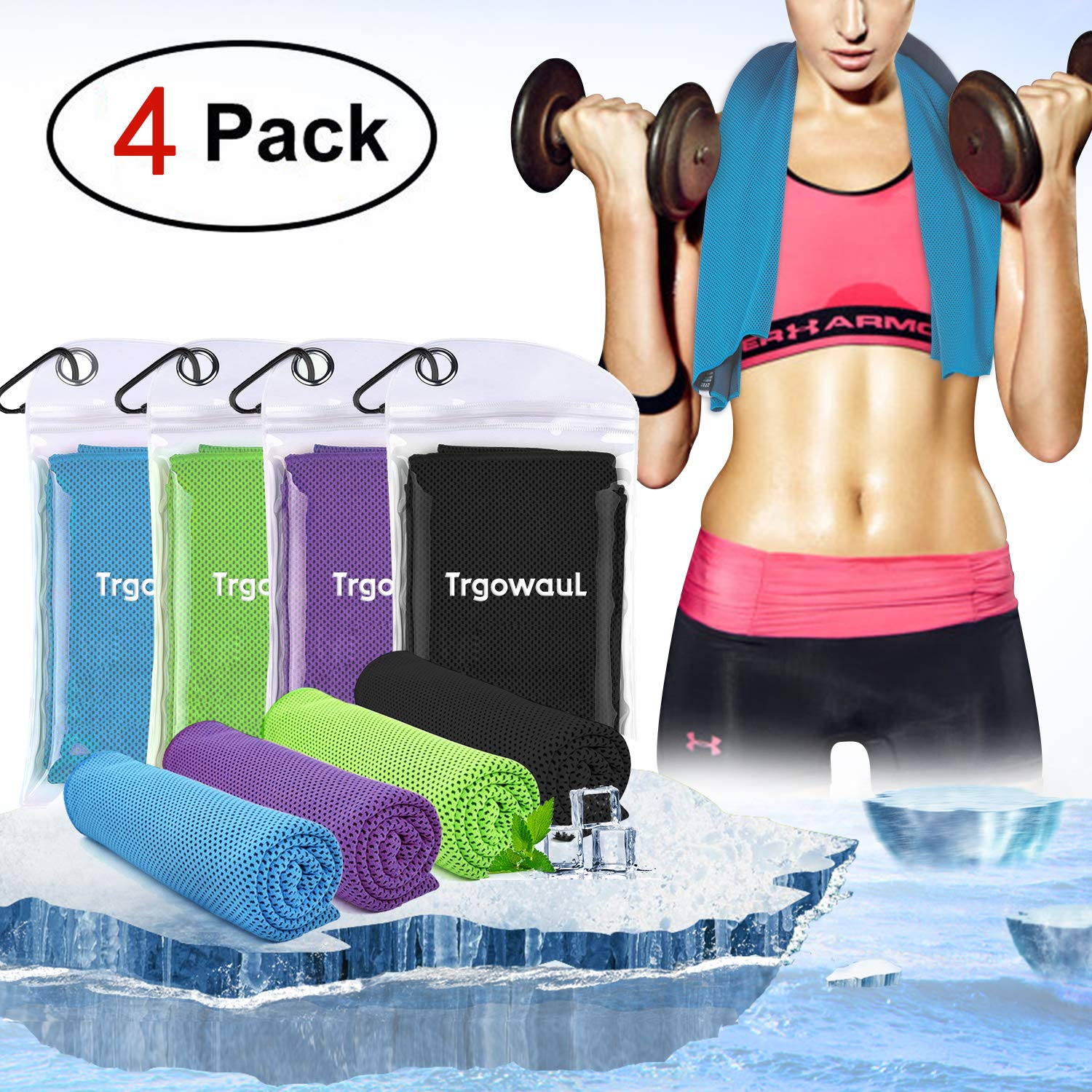 Trgowaul Cooling Towels, 40 x 12 Inches, Ice Towel, Soft Breathable Chilly Towels, Microfiber Towel for Yoga, Sport, Running, Gym, Workout,Camping, Fitness, Workout