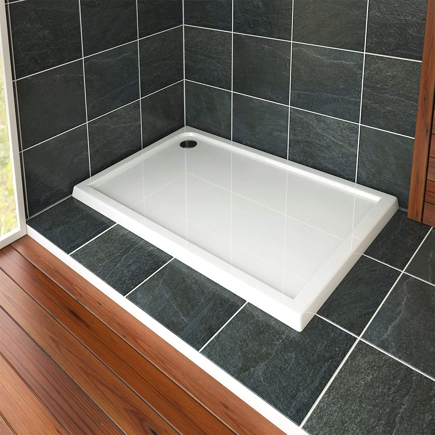 Nuie Bathroom 900 x 700mm Shower Tray Gloss White Slimline 40mm Stone Resin Rectangular Base with Free Waste Trap Kit