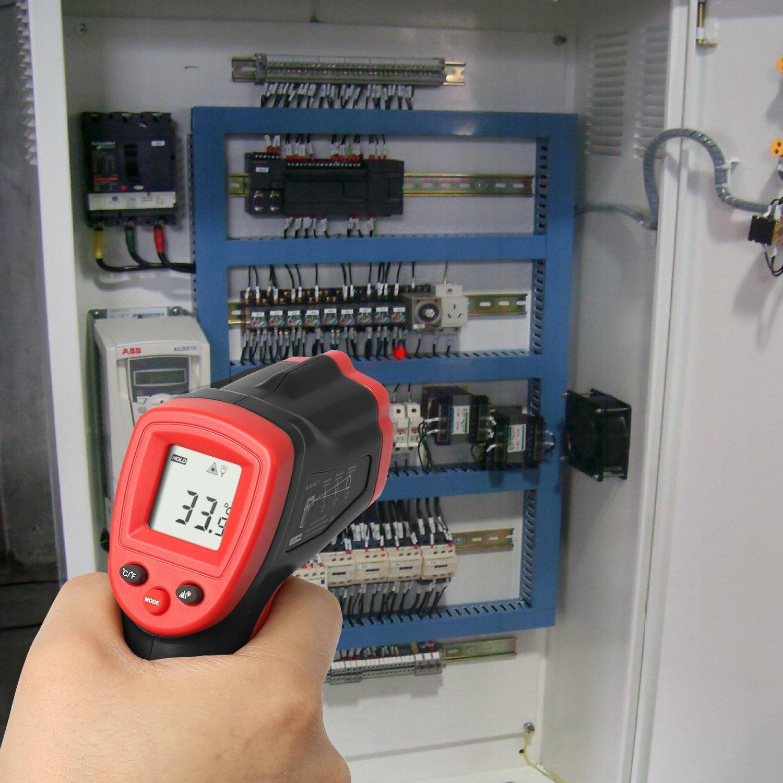 Eventek IR-Laserthermometer -58 /° F ~ 788 /° F digitale Temperaturpistole -50 /° C ~ 420 /° C Infrarot-Thermometer ber/ührungslose Rot // Schwarz