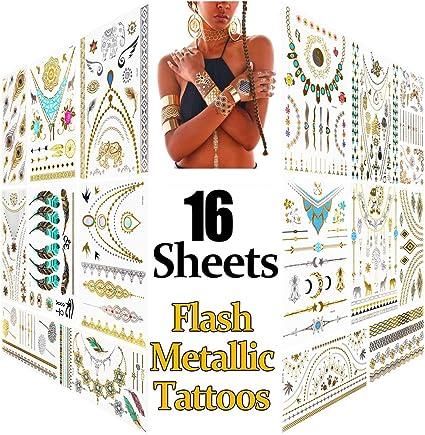 Metálico Temporal Tatuajes, 16 hojas Oro Destello Tatuajes, Más de ...