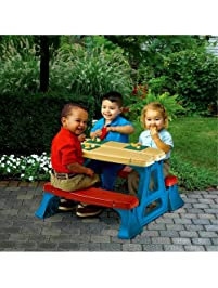 Contempary Dining Table Set For Kids, Kid Sized Picnic Table For Boys And  Girls