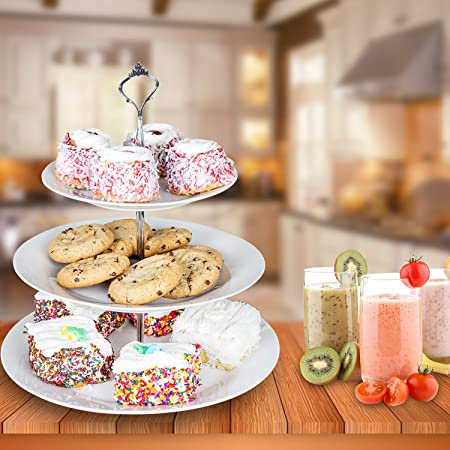 Homend 3 Tier Round Serving Tray Platters Appetizer Or Dessert